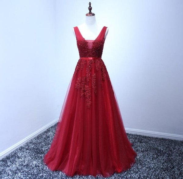 Real Photos Long Elegant Prom Dresses A Line V Neck Lace Appliques Beads Tulle Open Back Cheap Red Navy Blue Formal Evening Gowns