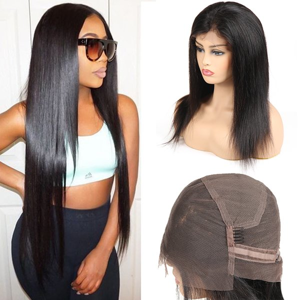 Droite Full Lace Perruques de Cheveux Humains Pas Cher Brésiliens Vierge Cheveux Non Transformés de Cheveux Humains Perruques Pour Les Femmes Noires 360 Dentelle Perruques Gros Prix