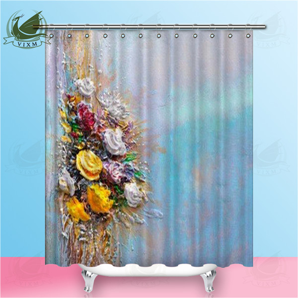 Vixm Oil Painting Impressionist Style Shower Curtains Forest Colorful Tree Waterproof Polyester Fabric Curtains For Home Decor