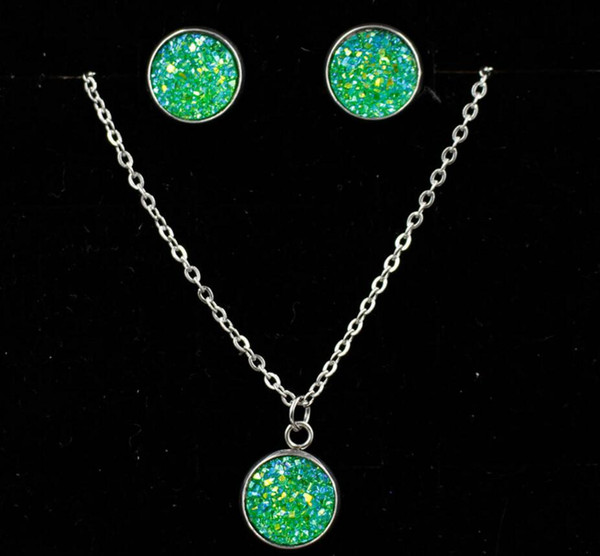 best selling Crystal Diamond druzy drusy Necklace Earrings Sets stainless steel Chain Necklace for Women Fashion Wedding Jewelry Sets Gift Drop Shipping