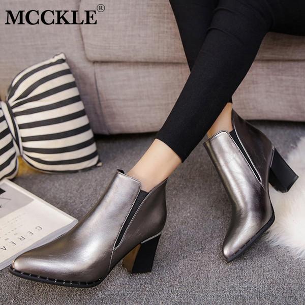 MCCKLE Femmes Épais Talon Cheville Bottes Femmes Bout Pointu Rivets Talons Chaussures Chaussures Dames Slip Sur Chunky Talon Chaussures