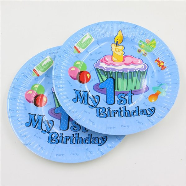 New design 1st birthday party 7inch paper plate for baby boy 1 year old party's best disposable decoration 12pcs/bag