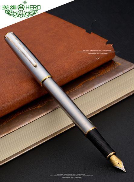 HERO Pièce argentée Design classique Stylo plume en acier inoxydable