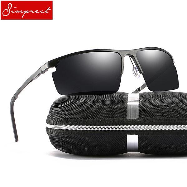 SIMPRECT 2018 Rectangle Polarized Sunglasses Men UV400 High Quality Aluminium Magnesium Metal Vintage Male Driving Sun Glasses