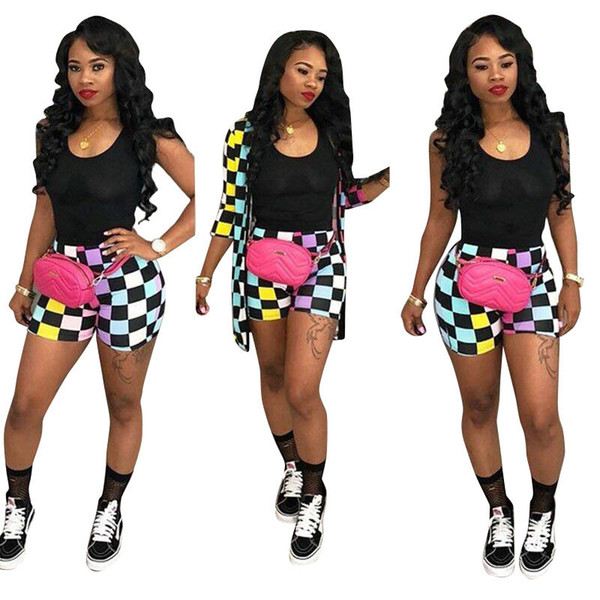 Sexy Square Printed Tops+pants 2pcs Set for Women 2018 New Arrival Summer Autumn Two-piece Fashion Casual Sport Party Nightclub Suits