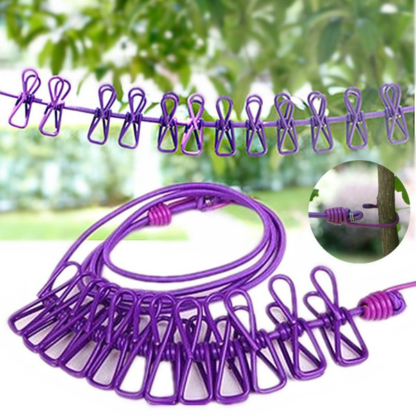 1.8m Outdoor Wild Travel Portable Telescopic Windproof Elastic Socks Clothesline 12 Clips Hangers Drying Rack Clothes Hanging Rope Line