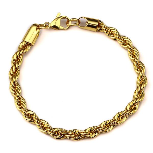 Mens 18k or plaqué corde Bracelet Hip Hop Bling printemps 8.66 pouces Femmes Hommes Bijoux avec Anniversaire