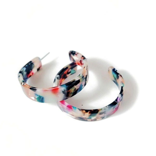Free Shipping New Design Mixed Color Resin Sweet Elegant Bohemia Styles C Shaped Earring, Hot Selling Fashion Earring