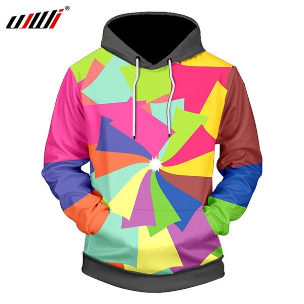 UJWI Men Sweatshirts 3D Printed Color Geometric Hoodies Men/Women Funny Cool Men's Clothing Casual Tracksuits Harajuku Plus Size