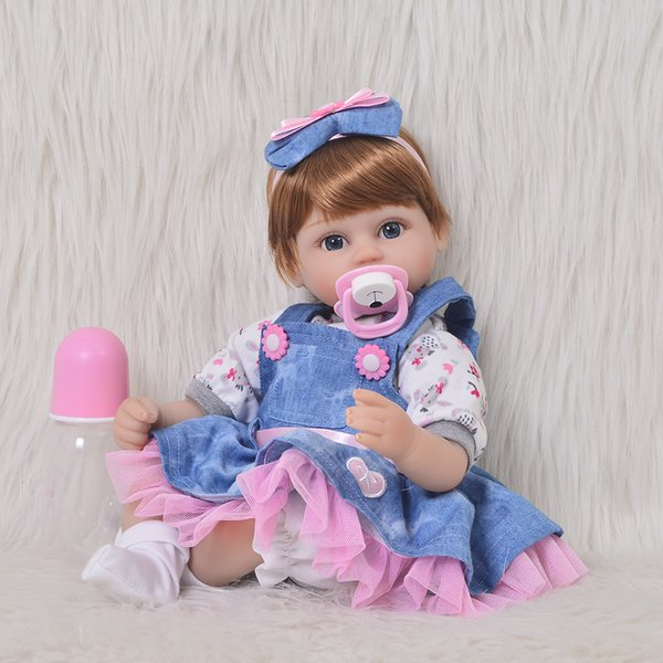DIY Reborn Baby Doll Toy Cosplay Girl with Skit Clothes 17'' Soft Silicone Stuffed Realistic Dolls Kids Birthday Xmas Gifts Hot