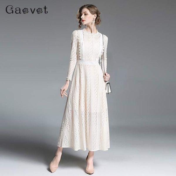 Compre Gaovot Maxi Encaje Blanco Vestido De Noche De Las Mujeres Elegantes Vestidos De Fiesta Largos De Gran Tamaño Otoño Invierno 2018 Túnica