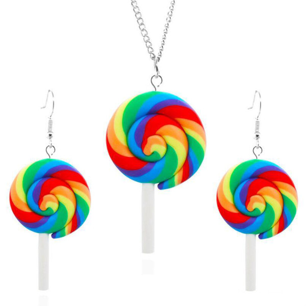 New Rainbow Swirl Lollipop Earrings & Necklace Jewelry Sets Candy Costume Halloween Christmas Trendy Style Female Jewelry Free Shipping