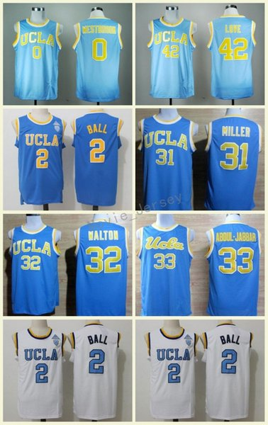 New UCLA Bruins College Jerseys 42 Kevin Love Shirt 33 Kareem Abdul Jabbar 0 Russell Westbrook 31 Reggie Miller 32 Bill Walton 2 Lonzo Ball