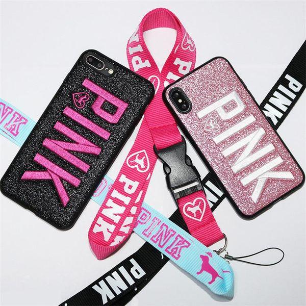 Für iphoneX Handy Fall Rosa Brief Mode Design Glitter Fällen Liebe 3D Stickerei Rosa Bling COVER CASE Für iPhone X 8 7 6s plus Verkauf