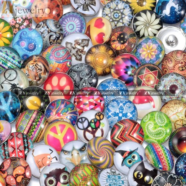 50pcs/lot Mixed 18mm Glass Snap Button Jewelry DIY Glass Button Snaps Fit Snap Button Bracelet Jewelry#S