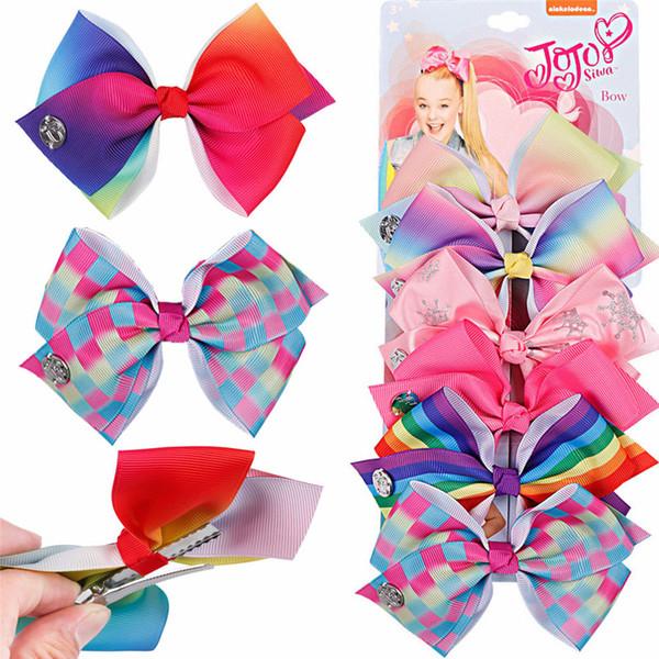 JoJo Bows With Hair Clips 6pcs/set For Girls Kids Handmade Cartoon Unicorn Rainbow Printed Knot Ribbon Bow Hair Accessories H975Q