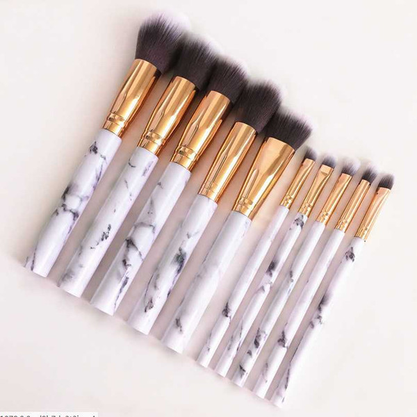 Drop Ship Epack 10pcs/set Marble Makeup Brushes Blush Powder Eyebrow Eyeliner Highlight Concealer Contour Foundation Brush Set