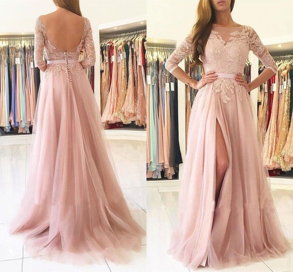 3/4 Long Sleeve Pink Prom Dresses 2018 Bateau Backless Side Split Sweep Train Lace Top Long Formal Party Graduation Wear Evening Gowns