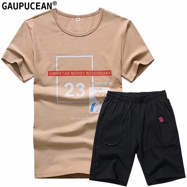 Man T Shirt Set 95% Cotton 5% Spandex Summer White Brown Letters Round-Neck Short Sleeve Knee Length Men T-shirts Shorts Suit