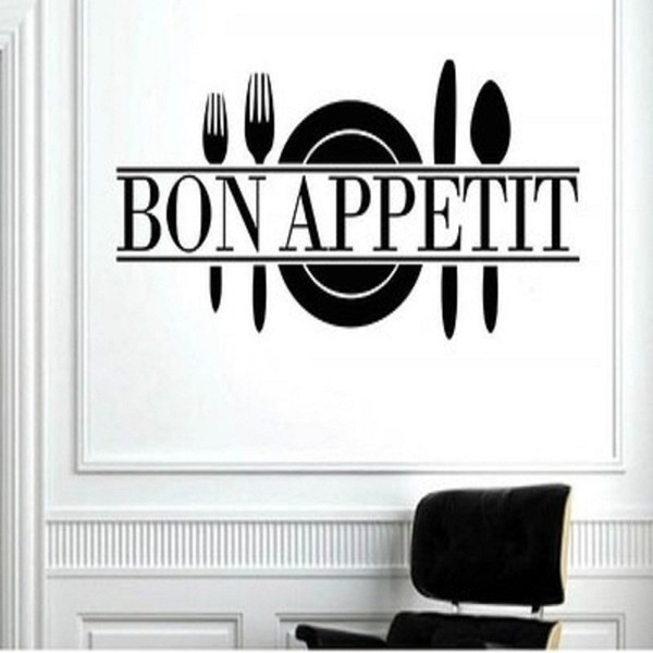 Bon Appetit Vinyl Kitchen Lettering Wall Sayings Home Decor Art Sticker Wall Stickers Dining Room Kitchen Living Room Decor 60x25cm Black Wall Art