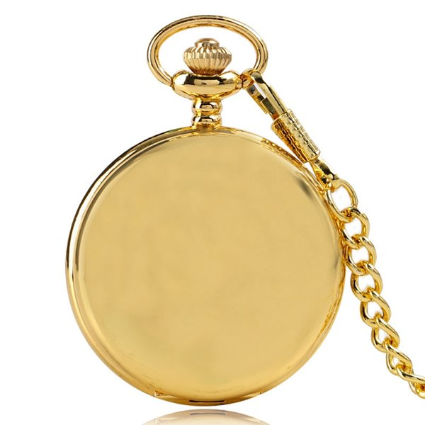 Reloj De Bolsillo Smooth Vintage Pocket Watch Arabic Numbers Fob Clock With Necklace Pendant Chain Gifts for Men Women
