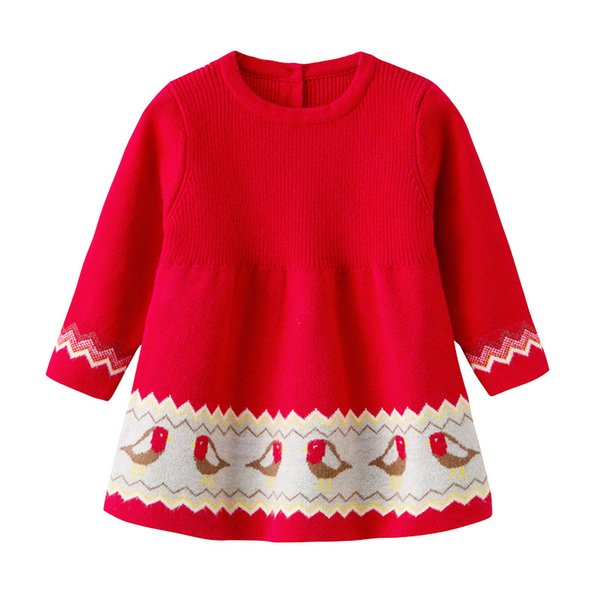 baby girl clothing dress spring fall little chick design knitted dress round collar long sleeve warm girl dress clothes