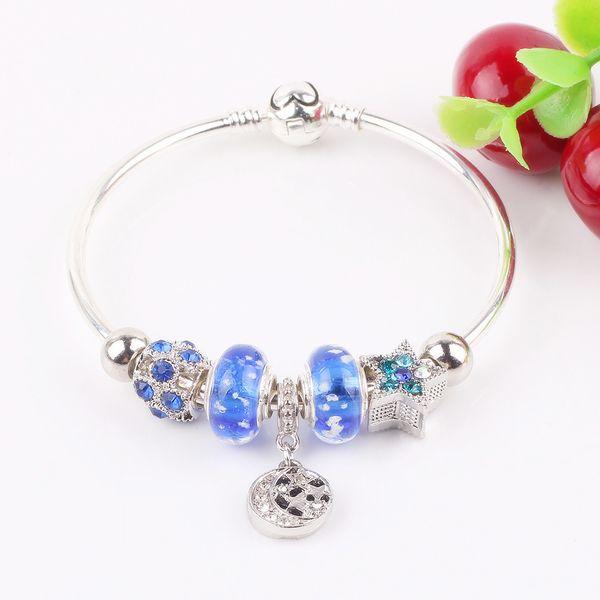 AIFEILI Original New Hot Star Pendant Bead Royal Blue Glass Bead Bracelet DIY Fit Jewelry Fashion Trend Jewelry