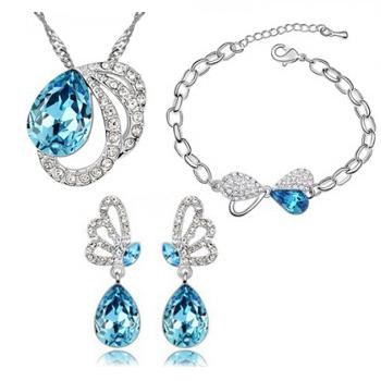 4Colors Water Drop Shaped Earrings Necklace Bracelet Women Fashion Wedding Jewelry Sets, A50+B101+E14