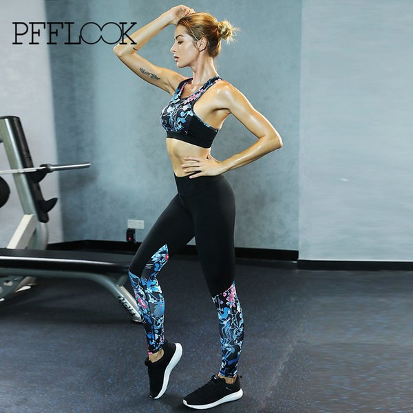 PFFLOOK Sexy Elastic Pants Yoga Set Printed Gym Leggings Sportswear Women Quick Dry Sports Suit 2018 Body Building Fitness Suit