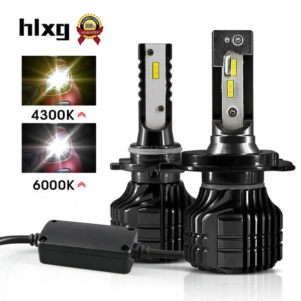 HLXG мини 2шт H4 Сид автомобиля H8 лампы 4300К чип СКП Н11 светодиодные Н7 Н3 НВ3 9005 9006 НВ4 6000К лампы фары автомобиля лампочки для автомобилей