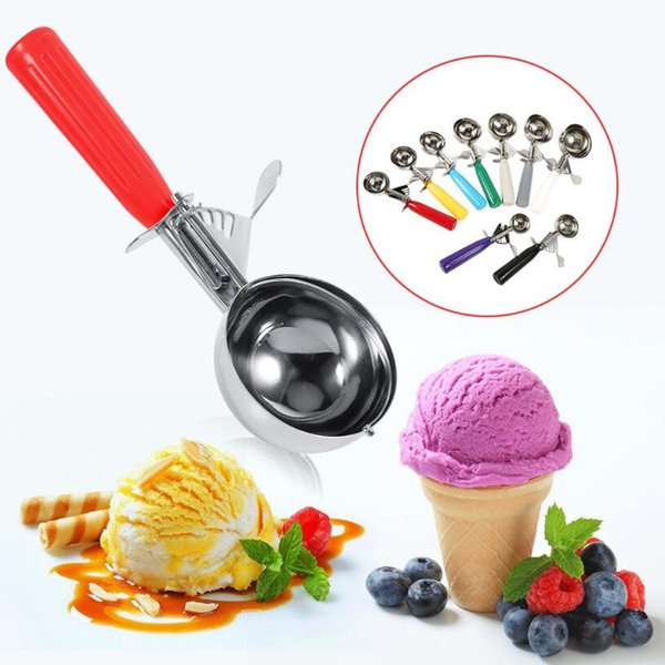 Stainless Steel Ice Cream Scoop Cookie Disher Spoon Watermelon Ball Dipper With Plastic Handle Kitchen Tool OOA5545