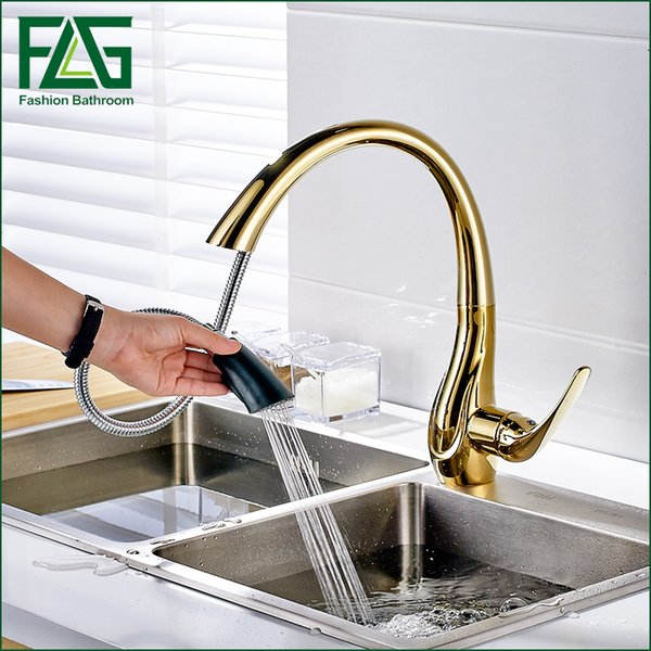 Free Shipping Pull Out Gold Kitchen Faucets, Hot and Cold Vegetables Basin Rotating Taps All Copper Kitchen Sink Mixer Faucet