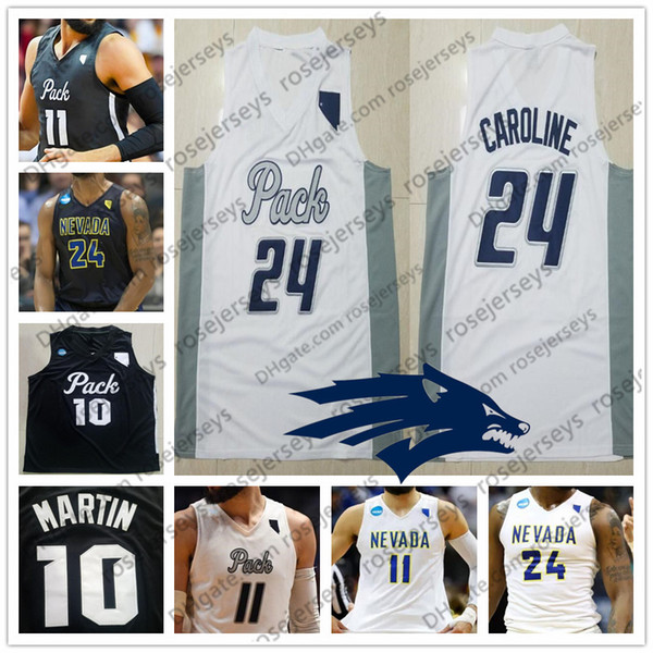 Custom Nevada Wolf Pack College Basketball white black Stitched Any Name Number #10 Caleb Martin 11 Cody 24 Caroline NCAA Jerseys S-4XL