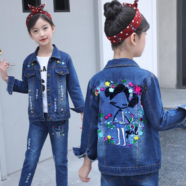 Fashion Casual Baby Teen Girls Clothing Sets Pearls Floral Cartoon Denim Coat+Jeans Pants 2 Pcs Child Kids Clothes Set JW3650