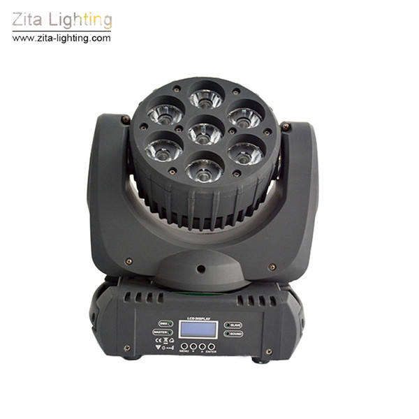 2Pcs/Lot Zita Lighting Mini LED Moving Head Lights 7X15W Rotating Wash Stage Lighting RGBW Beam DMX 512 DJ Disco Party Event Effect