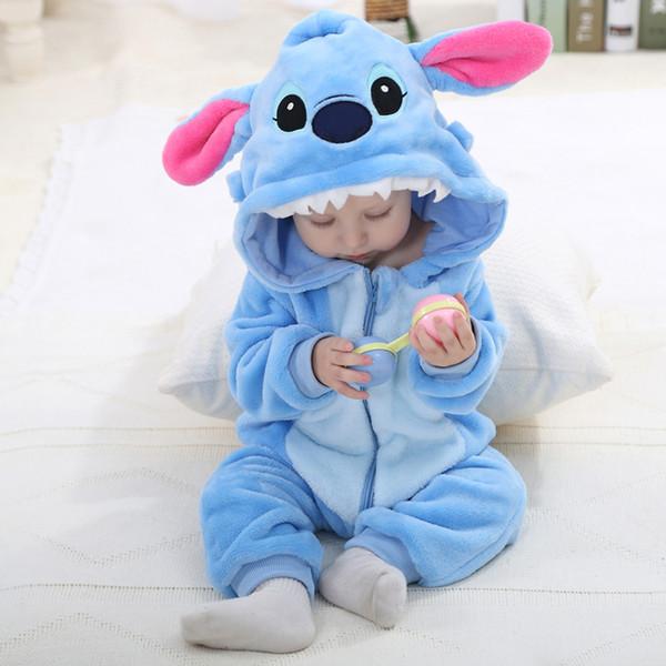 EOICIOI Babyspielanzug Panda Stich Katze Neugeborene Kleidung Kapuze Winter Strampler niedlichen weichen Flanell importiert neugeborenen Babykleidung Y18102008
