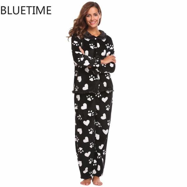 design di qualità 5a667 d492e Acquista Donne Long Pigiama Set Plus Size Inverno Caldi Pigiami Terry  Abbigliamento Stampa Pijama Mujer Femminile Home Suit Pigiami Donna Femme A  ...