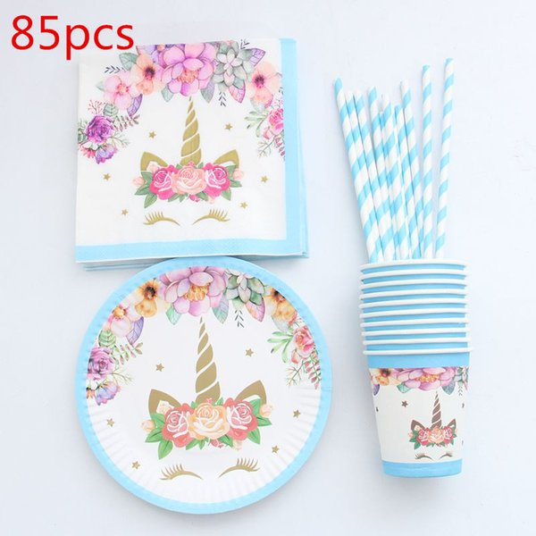 Christmas Paper Plates And Napkins.2019 Unicorn Disposable Tableware Christmas New Year Party Paper Plates Cups Napkins Birthday Party Supplies Plastic Straws From Greenliv 23 82