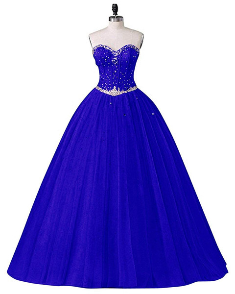 2018 New Sexy Long Sweetheart Ball Gown Tulle Quinceanera Dresses Beaded Crystal Masquerade Sweet 16 Prom Party Prom Gown