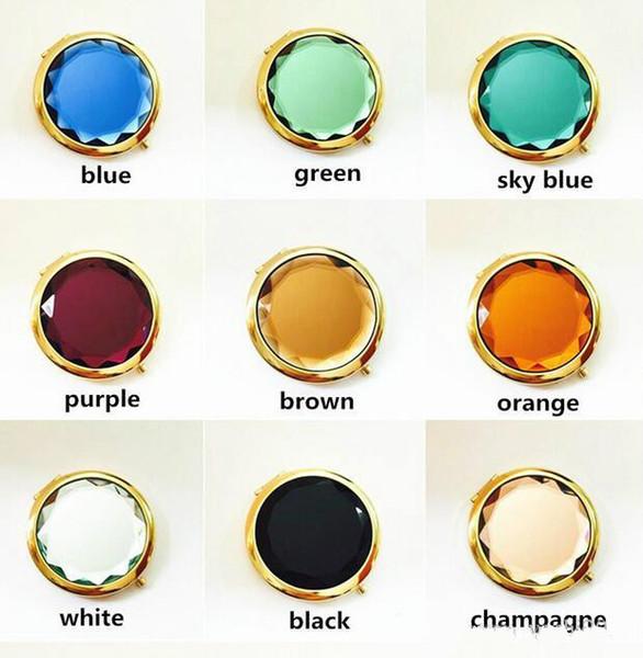 Regalos de publicidad de cristal dorado maquillaje de belleza espejos plegables bolso de bolsillo de oro de doble cara espejo compacto de viaje 200pcs