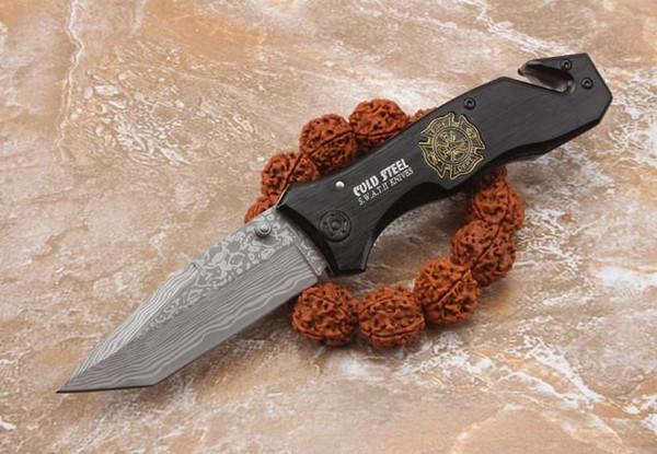 Vente chaude couteau pliant couteau de poche coldsteel Wilderness survie couteau 5Cr15MOV lame EDC outil prix de gros utilitaire outils SWAT II