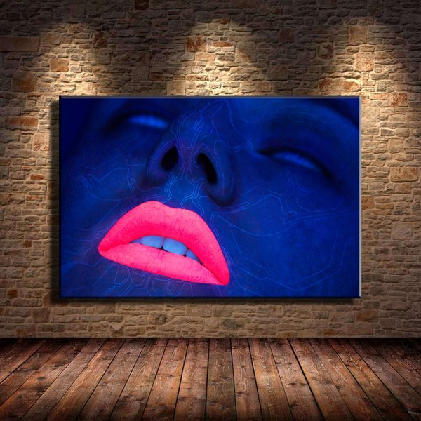 Neon Lips Face,Home Decor HD Printed Modern Art Painting on Canvas (Unframed/Framed)