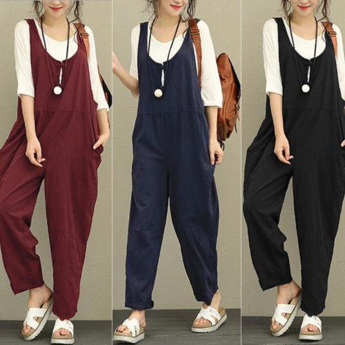 Womens Ladies Casual Pants Cotton Linen Jumpsuit Harem Trousers Romper Overalls Ladies Solid Casual Jumpsuits For Women