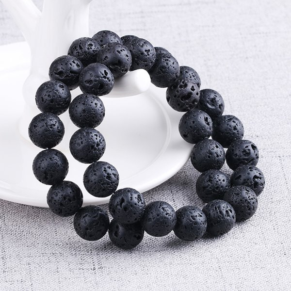 BEAUCHAMP Black Lava Rock Beads Bracelet Gem Natural Stone Volcanic Stretch Men Bracelet Elastic Pulserase Jewelry Expandable