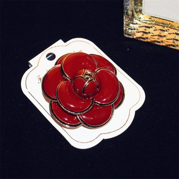 Wholesale- Fashion Camellia Brooches Brand Design Enamel Flower Brooch Pins Red White Black For Hats Scarf Clothes Accessories Women Bijoux