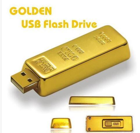 10pcs 100% Real Capacity Gold bar pen drive 2GB 4GB 8GB 16GB 32GB 64GB USB Flash Drive Memory Stick with OPP Packaging 01