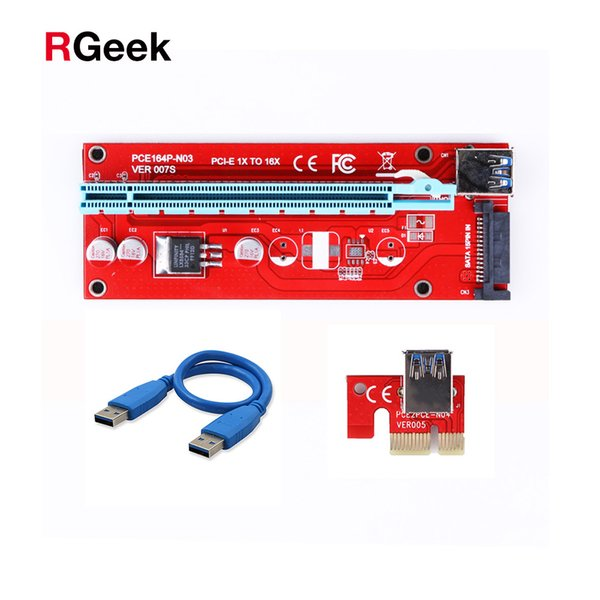 10pcs New Red VER007S PCI Express Riser Card 1x to 16x PCI-E Riser extender 60cm USB 3.0 Cable 15Pin SATA for BTC Mining rig