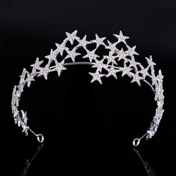 Star Crystal Bandeaux De Mariage Couronne Strass Accessoires De Cheveux De Mariée Tiara Et Couronnes Bijoux De Cheveux Tiara De Noiva Headpieces