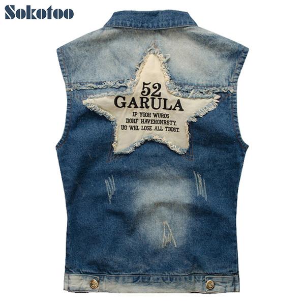 Sokotoo chaleco de mezclilla de los hombres masculinos carta de estrella de cinco puntas prendas de vestir exteriores chaqueta de mezclilla de mezclilla Plus tanque de gran tamaño envío gratis