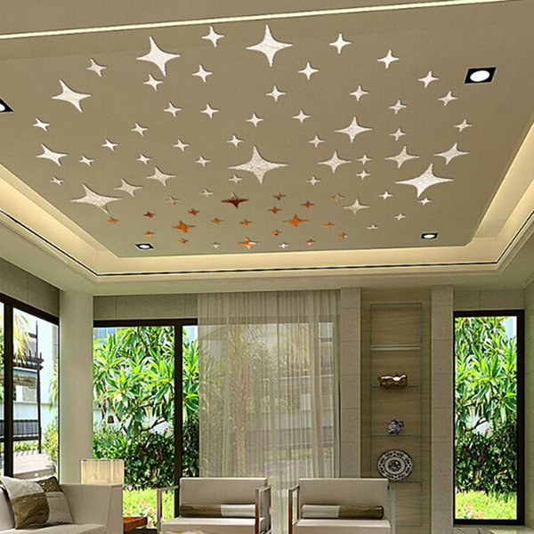 50Pcs Removable 3D Star Shape Mirror Effect Home Decor Wall Art Decals Stickers